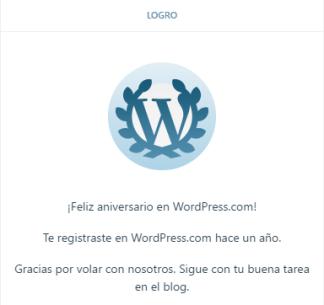 primer aniversario wordpress