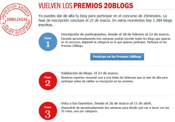 Calendario Premios 20 Blogs