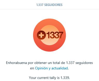 1337 seguidores en el Blog