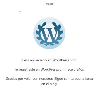 3er aniversario en Wordpress